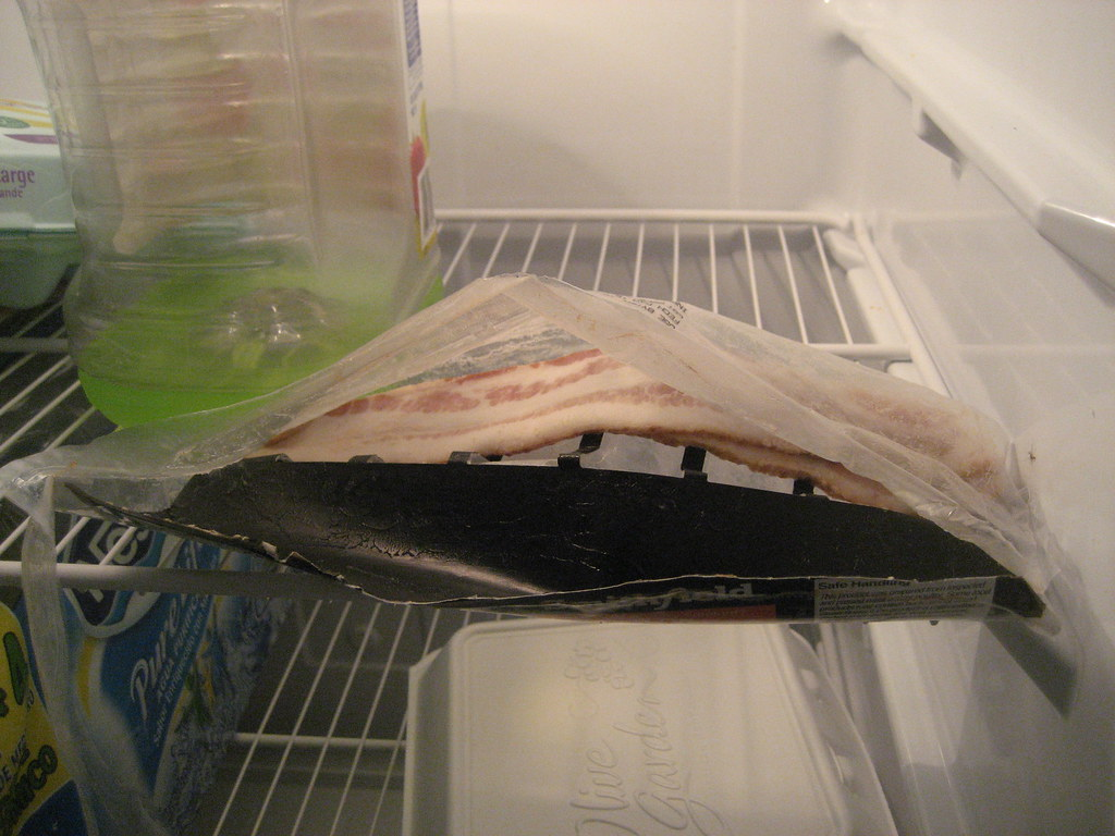 Wrong Way To Store Raw Meat (Bacon) In The Fridge