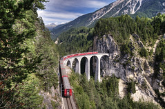 rhaetian railway @ landwasser viaduct switzerland (Toni_V) Tags: bridge schweiz switzerland suisse perspective unesco viaduct worldheritage 2010 rhb d300 graubünden landwasser rhätischebahn photomatix myswitzerland filisur rhaetianrailway hdrsingleraw landwasserviaduct natureplus capturenx 100829 dsc3080 ©toniv flickrtravelaward
