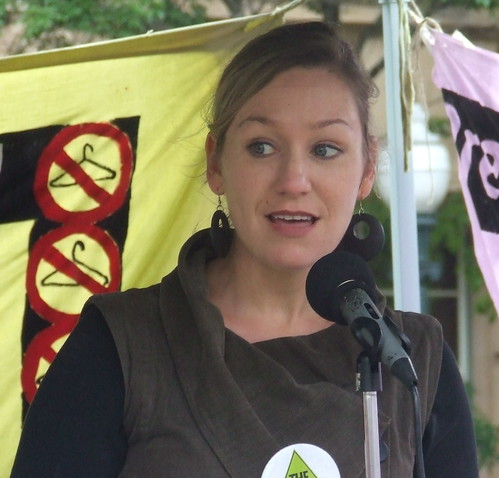 Greens' Senator-Elect for Queensland, Larissa Waters, at Pro Choice Rally, Queens Park, George and Elizabeth Sts, Brisbane, Queensland, Australia 101009-4