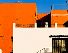Morning sunlight (Steve-h) Tags: blue orange plants costa sun sunlight white black sol sunshine spain colours shadows patterns aerial andalucia tiles costadelsol ironwork malaga harsh marbella washinglines steveh canoneos5dmarkii canonef100mmf28lmacroisusmlens