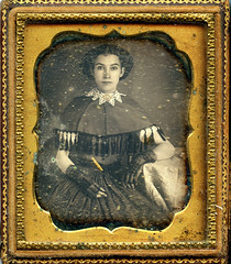 Direct Gaze Lace and Tassels Daguerreotype (depthandtime) Tags: old portrait woman vintage found lace antique gloves dag daguerreotype foundphoto direct tassels cased