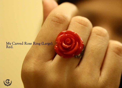 my carved ring (L) - red