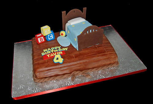 Boys bedroom scene cake for a Toy Story themed 4th birthday celebraiton