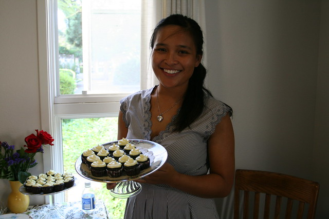 with the cupcakes and cake stand that i made