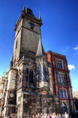 Old town city hall tower. Torre del ayuntamiento de la ciudad vieja