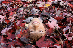My eyes of autumn (Gordana AM) Tags: thanksgiving old autumn boy red holiday ontario canada male fall beach face leaves smiling horizontal outdoors happy leaf kid maple eyes october child many burgundy rich 8 down canadian pile fallen windsor years enjoying rolling upside luka hca laying lepiafgeo