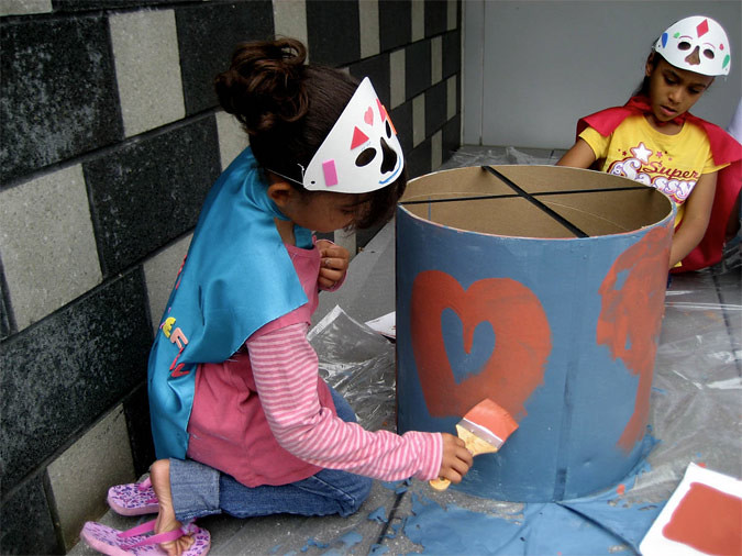 Students help with the ARTfarm installation in the Bronx (Courtesy AFHny Studio)