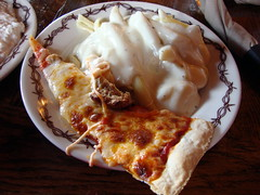 Pizza And Pasta From Buffalo Phil's Lunch Buffet Wisconsin Dells. (dccradio) Tags: food wisconsin dinner lunch restaurant plate pasta pizza meal alfredo noodles supper wi wisconsindells dells sausagepizza foodplate lunchbuffet lakedelton plateoffood pizzaslice alfredosauce buffalophils