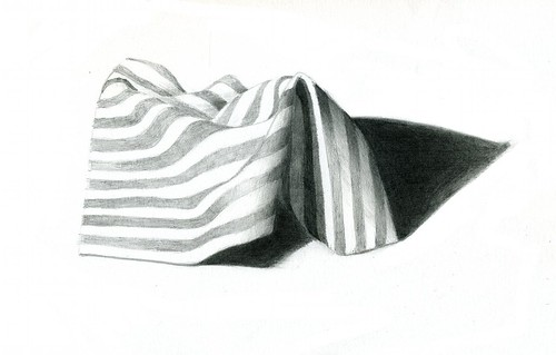 striped cloth pencil drawing