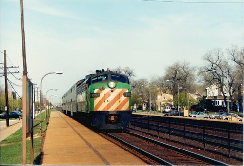 Metra-BN local arriving at the Harlem Avenue station. Berwyn Illinois. April 1988. by Eddie from Chicago