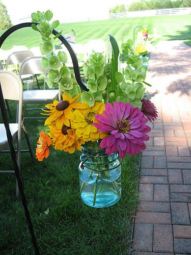 hanging jar of flowers
