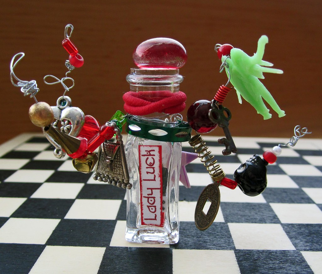 Miniature Fantasy Assemblage Bottle of LADY LUCK