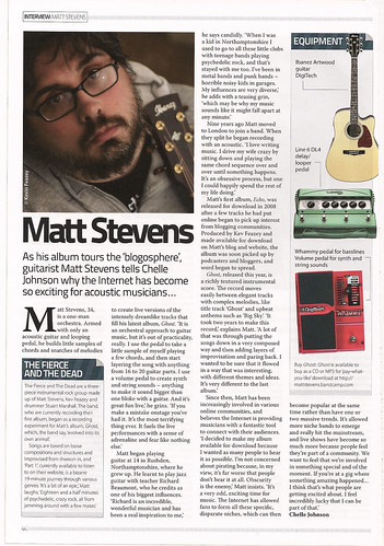 Matt Stevens Interview In Acoustic Magazine