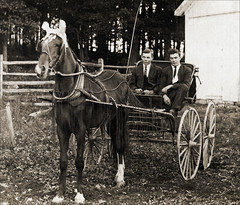 Two young men with a horse and buggy (newmexico51) Tags: old horse man vintage tie suit whip buggy homem hombre homme earwarmers