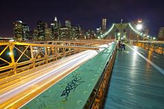 The High Road (Michael Smith Imagery) Tags: new york city nyc bridge cars skyline brooklyn night skyscraper canon buildings eos lights graffiti exposure time mark ii walkway l 5d series usm ef 1740mm f4 verizon