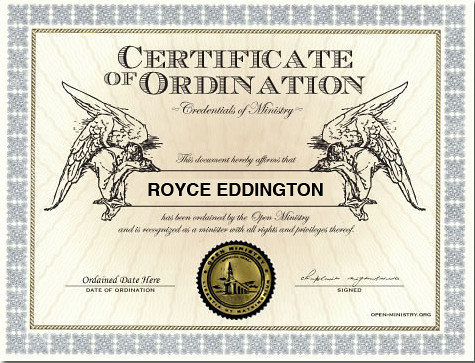 Certificate of Ordination