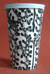 Black and White Organic Cup (Leech Gallagher studios) Tags: new city nyc newyorkcity art cup coffee pen ink painting paper tea drawing contemporaryart contemporary drawings cups handdrawn ecoart papercups coffeeart newyorkcityart upcycle greenart coffeecupart artcups cupart coffeecupdrawing gwynethleech drawingcups