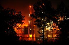 Night heat (Harm Weitering) Tags: trees light industry night licht bomen nacht industrie silhoutte emmen