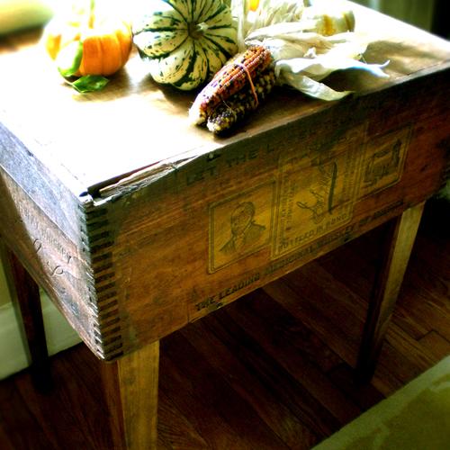 Modern Arks: Vintage Wood Crate Turns Side Table   Poppytalk
