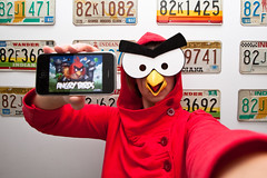 (me as) angry bird (sgoralnick) Tags: selfportrait game bird halloween me costume angry app iphone angrybirds