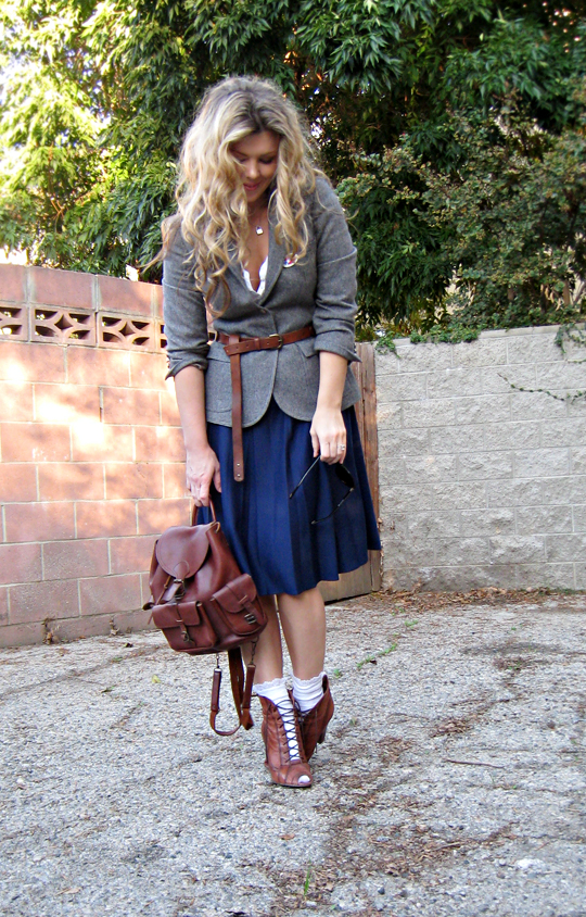 election day+wool blazer+long lady skirt+ruffle socks+lace up granny boots+leather backpack+long belt+curled hair