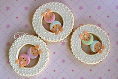 Twin cookies (Three Honeybees) Tags: pink blue baby green cutout shower twins cookie purple pastel royal sugar mauve icing fondant threehoneybees