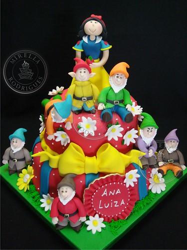 Bolo decorado Branca de Neve e os 7 anões. Snow white birthday cake
