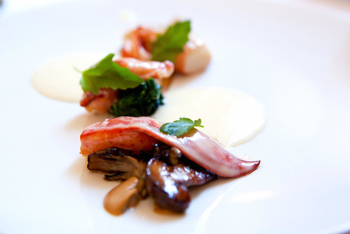 Butter poached lobster with matsutake mushroom emulsion