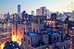 Upper East Side at Twilight, New York City (andrew c mace) Tags: nyc roof newyork rooftop skyline twilight cityscape tokina1224 un trumptower chryslerbuilding eastside uppereastside suttonplace citigroupcenter colorefex nikoncapturenx nikond90