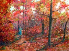 A Walk Through Indian Summer, an acrylic painting (Elizabethc) Tags: pink blue autumn red orange tree art fall girl leaves yellow forest walking sticks artwork weeds woods artist acrylic shadows michigan branches battlecreek elizabethcrabtree crabtreeoriginals indiansummerpainting