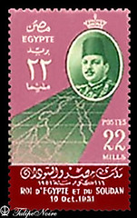 A 22 Millimes Stamp, On The Occasion Of Abrogation of the Anglo-Egyptian Treaty On October 16, 1951 - Issued On February 11, 1952 (B) (Tulipe Noire) Tags: africa 22 king map sudan egypt middleeast farouk stamp 1950s egyptian 1951 treaty millimes
