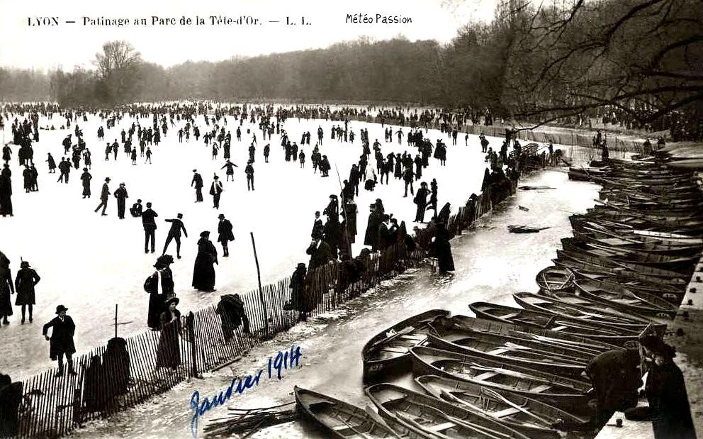 patinage au parc de la Tête d'Or à Lyon en janvier 1914