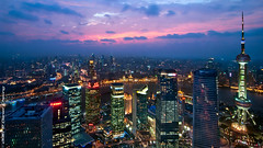 Shanghai Dusk (DanielKHC) Tags: china blue sunset tower digital lights hotel 1 interestingness high nikon long exposure cityscape view shanghai dynamic dusk room front aerial explore page pearl oriental pudong range fp bund dri grandhyatt hdr blending d300 top20longexposure danielcheong danielkhc tokina1116mmf28 visipix