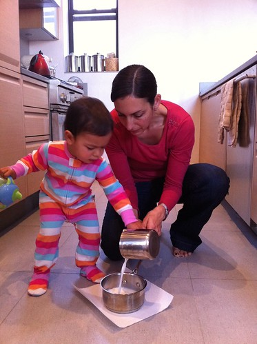 Laila and Anna making oatmeal for breakfast
