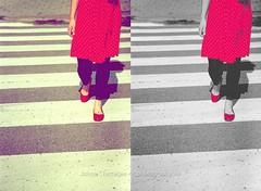 crossing the zebra! (j4jishnu) Tags: road red india girl female photoshop model skirt jeans zebra cs kolkata calcutta jishnu j4jishnu
