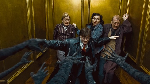 Harry Hermione Ron Ministerio Magia ascensor
