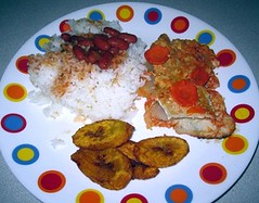 Chicken Casserole w/ Rice and Sweet plantains