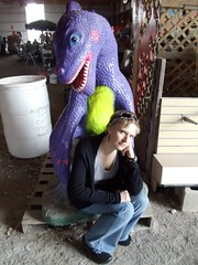 Meaningful moment with a dinosaur