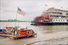 The Raft Marvel and the Delta Queen (Jamie Burkart) Tags: fall water homemade mississippiriver raft 2007 lauramattingly