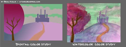 watercolor based digital color study 3