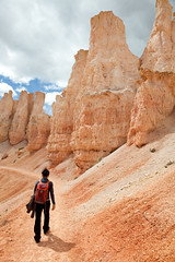 Lea and the Hoodoos (Patrick Cadieux) Tags: pink rock utah sand desert hiking canyon trail bryce
