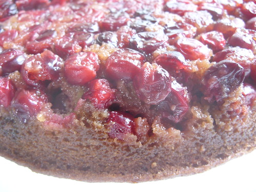 Super close up cranberry upsidown cake