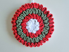 Christmasy Grandma Potholder (caseyplusthree) Tags: christmas grandma red white green ruffles potholder royalsisters