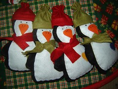 Pinguins feltro de Natal (Pimenta Arteira) Tags: natal de handmade artesanato feltro patchwork arvore saia enfeite