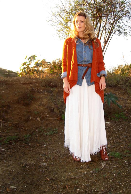 winter white vintage maxi skirt+denim shirt+cognac and denim+hills+sun