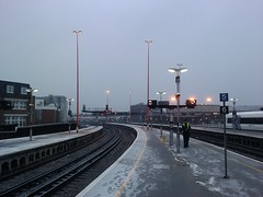 London Bridge platform 4 in the Snow