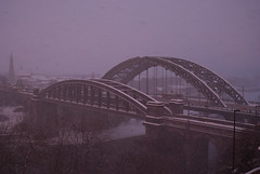 Wearmouth Bridges (boscoppa) Tags: uk bridge sunset england snow sunderland wearmouth