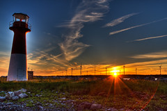 Pubnico Harbour Lighthouse (crowemedia) Tags: ocean sunset lighthouse nature water windmill clouds sunrise landscape timelapse media novascotia dusk jordan fields fiberglass crowe hdr pubnicoharbour wbnawcnns crowemedia