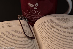 Curling Up With a Good Book and a Cup of Coffee - HMM (11Jewels) Tags: canon 50mm book suegrafton relaxation macromonday cupofcoffee mug