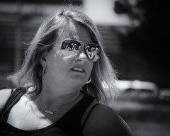 Shades Reflections (1mpl) Tags: olympusomdem1 texas dallas richardson cottonwoodartfestival portraits bw monochrome niksilverefexpro